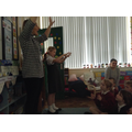 Mrs Quinn and P6 Sarah McAllister leading the way