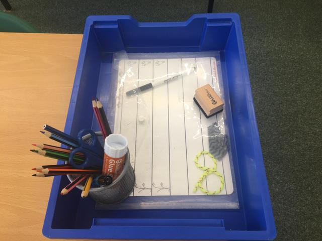 Individual resources tray for each child