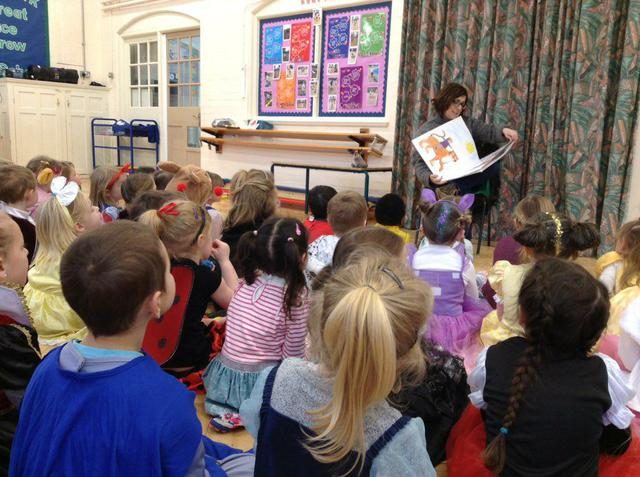 Governor Mrs Parkin sharing a story with Reception