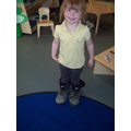 Trying on the giant's boots.