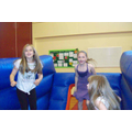 Girls having fun on Inflatable Skip