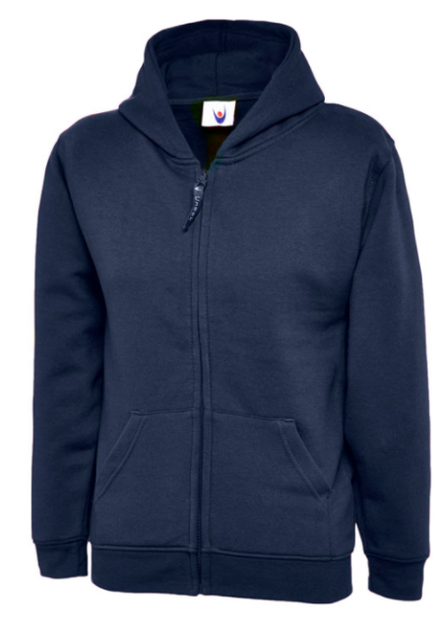 Navy full zip hoodie with school logo £12.95