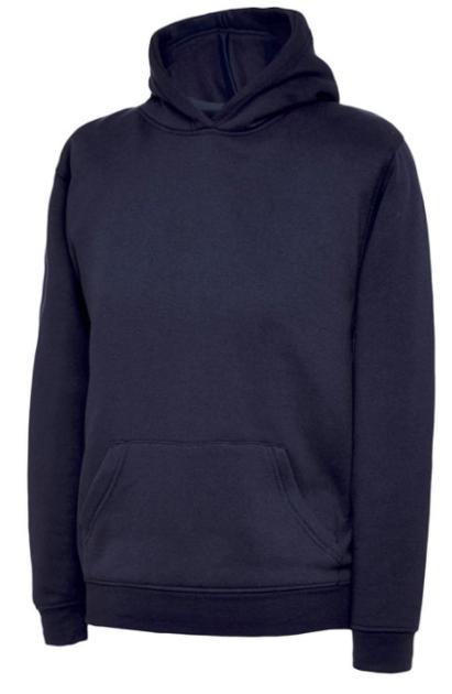 Navy over the head hoodie with school logo £10.65