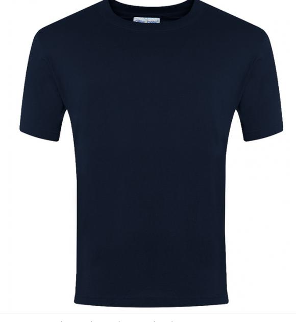 Navy crew neck t-shirt with school logo £5.95