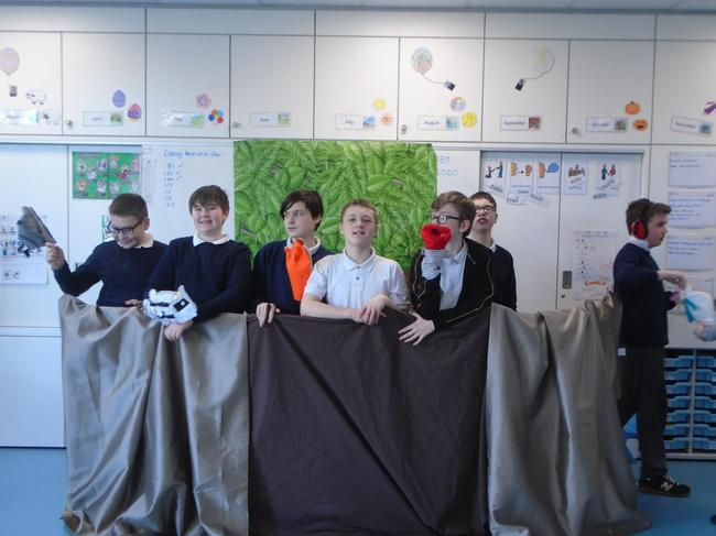 In DT we wrote our puppet show 'Goldilocks and the 3 Badgers'. We made our puppets and performed our show to Hedgehogs Class!