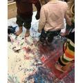 Blackbirds Exploring Foot Painting
