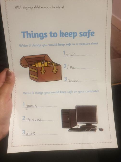 Aiden has been learning about internet safety