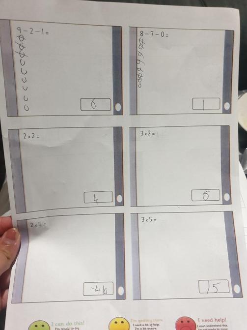 Adiden practicing his arithmetic skills