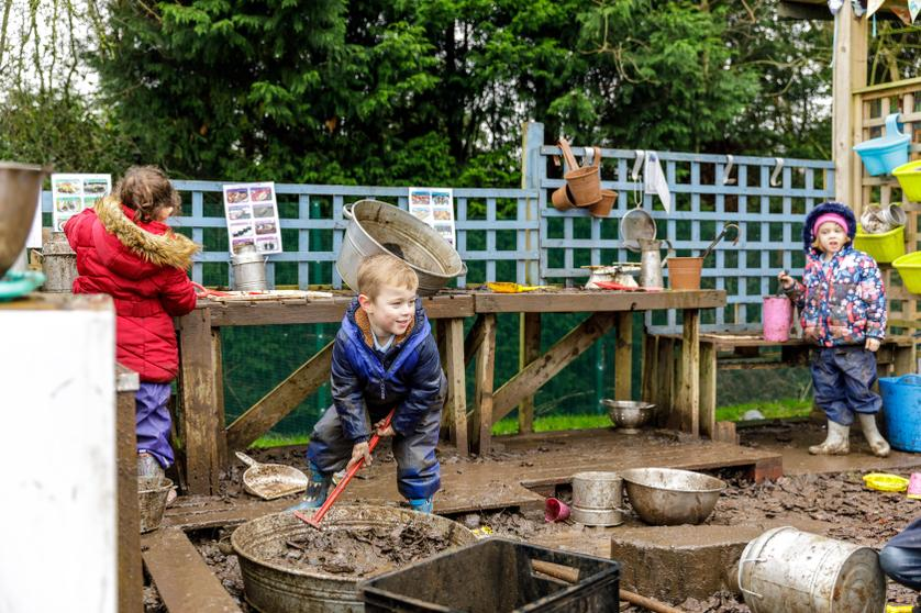 'The mud kitchen is the best!'