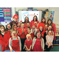 Dressed in red for Comic Relief