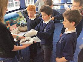 Handling some delicate artefacts.