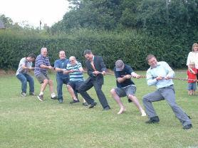 Family Fun Fete: Dads getting in to the competitive spirit.