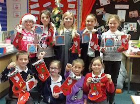 Sewing club's Christmas stockings.
