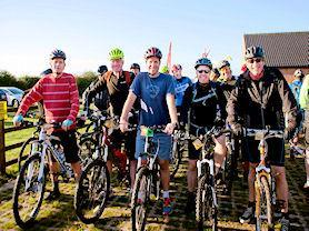 Smiley cyclists looking forward to the Viking Challenge.