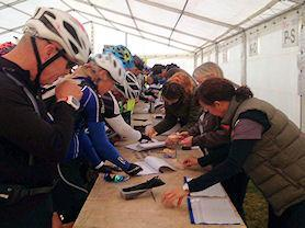 Busy early morning registering for the Viking Challenge..