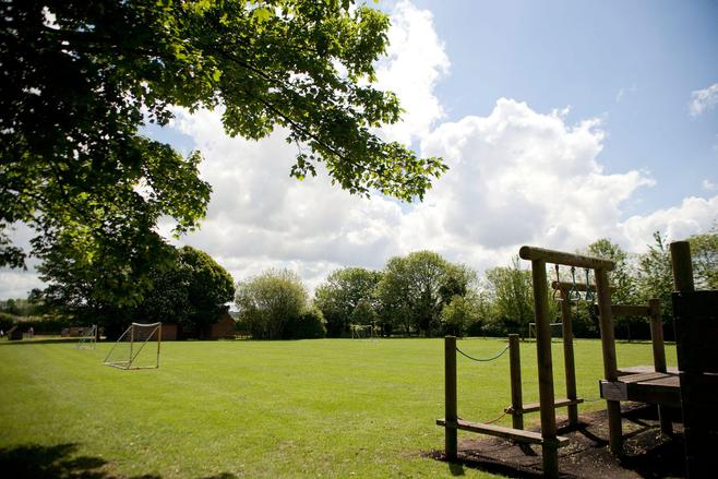 School field and climbing frame