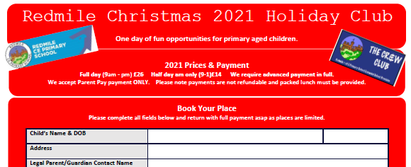 Book here for Christmas CReW Club