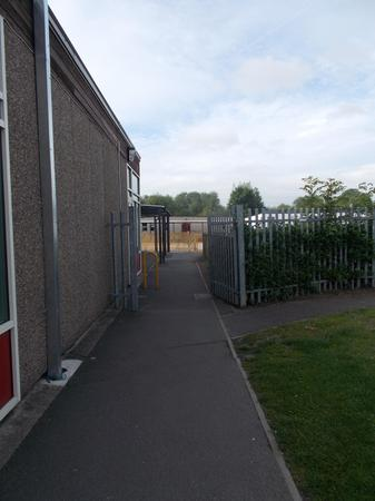 Gate to Year 1. Parents not allowed past AM.