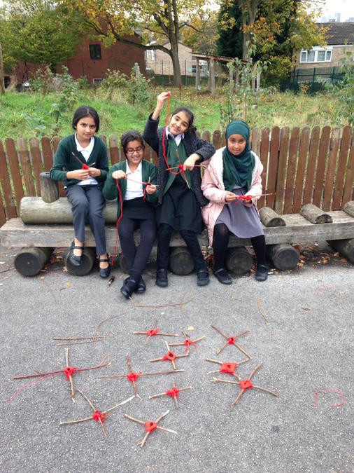 Poppy Day weaving at lunch time