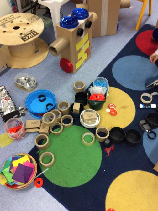 Reception were given a variety of materials to use