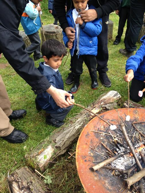 Toasting marshmallows in the respect fire position