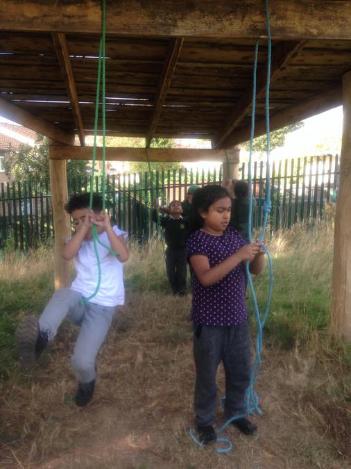 We made our own rope swings!