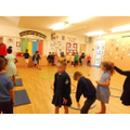 Class 1 getting active in the hall!
