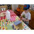 Matthew will all his materials to create Elmer.