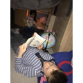 Isabelle and her brother made a cosy reading den!