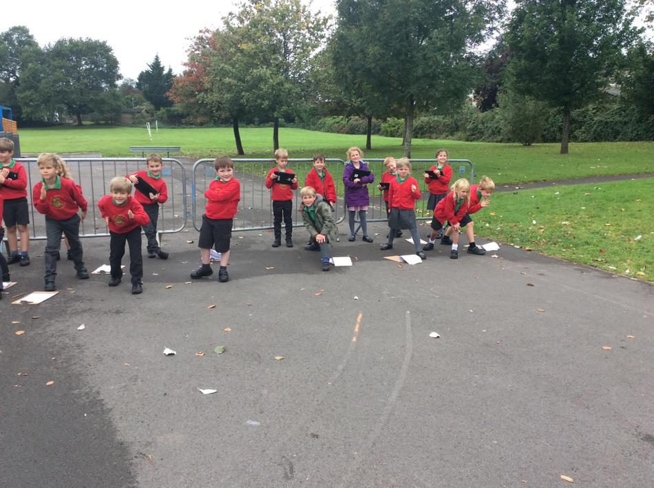 We timed ourselves walking, skipping, side stepping, jogging and sprinting steps!
