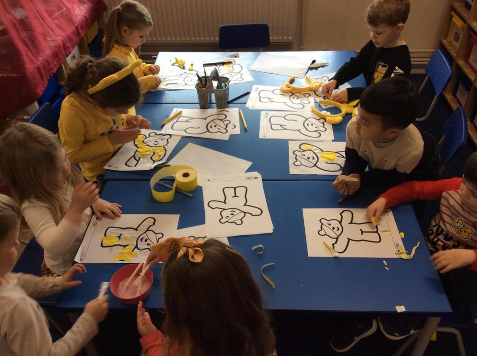 We collaged Pudsey using our fine motor skills!