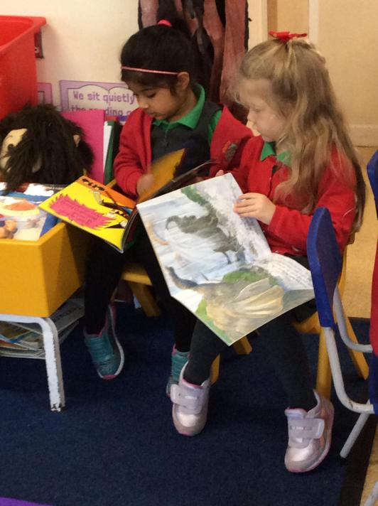 Busy reading under our imagination tree.