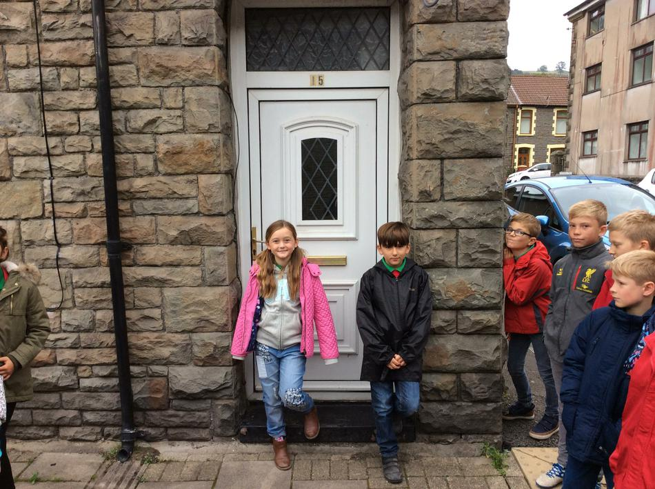 Visiting our 1901  characters' houses in Trehafod.