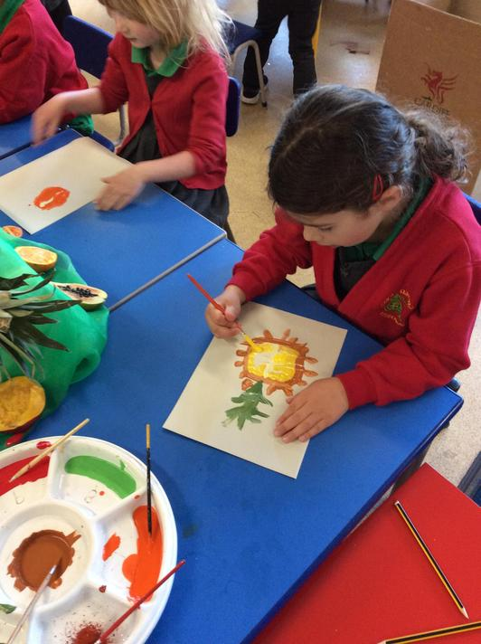 We painted Handa's fruit looking carefully at the detail.