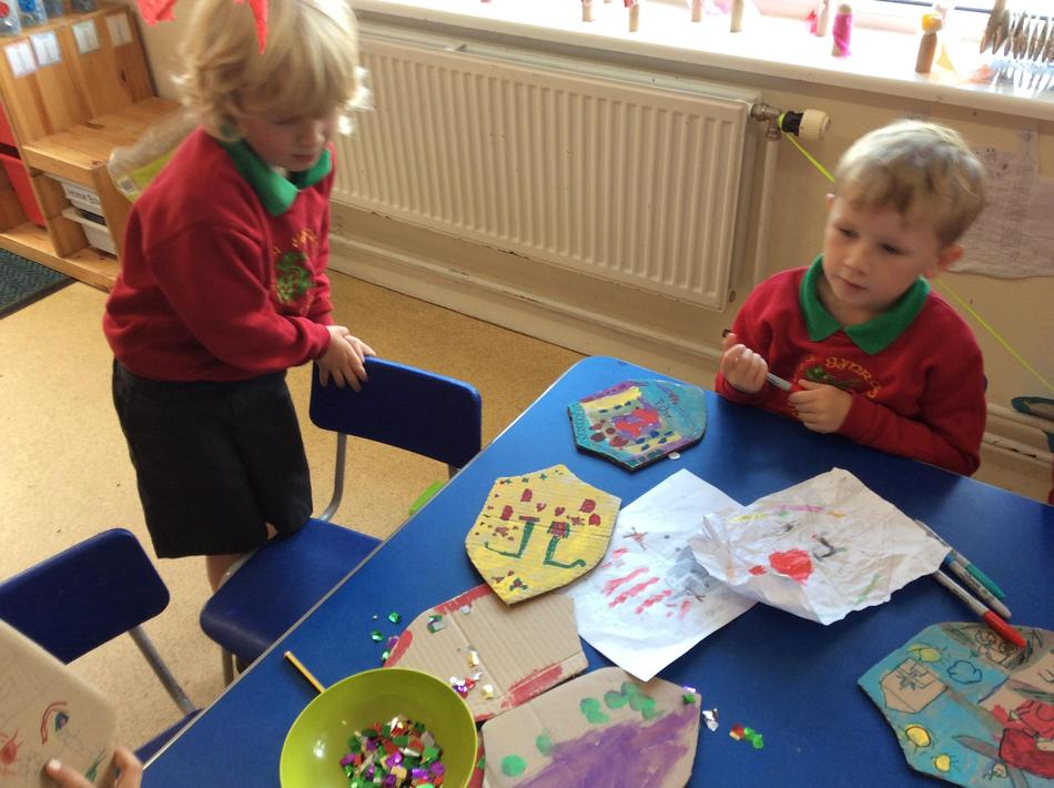 Decorating our shields was so much fun!