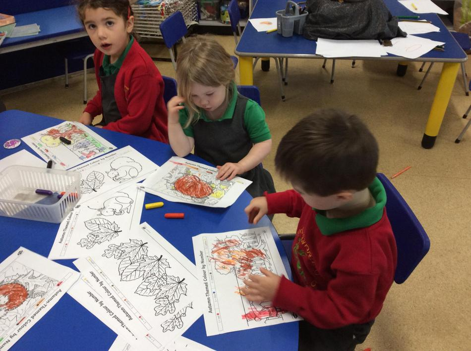 We practised our fine motor skills with colouring in!