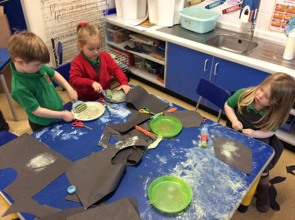 Making moons using different tools...it got messy!