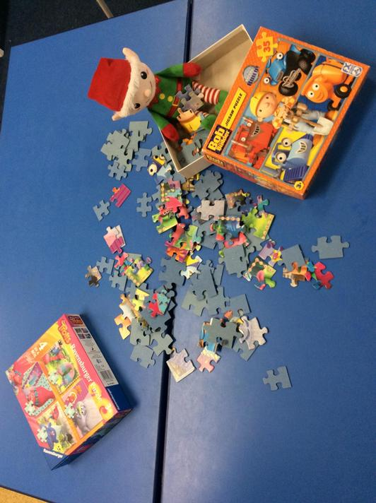 He muddled the jigsaws up trying to solve them!