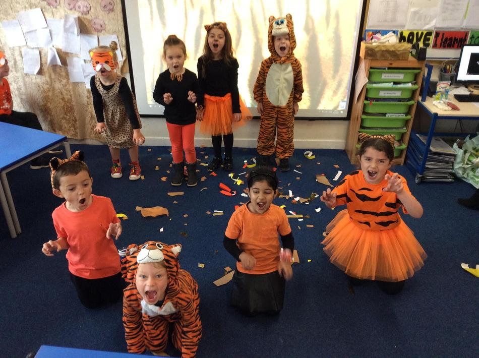 We made our own Tiger video (like Christmas!) as Pupil Voice