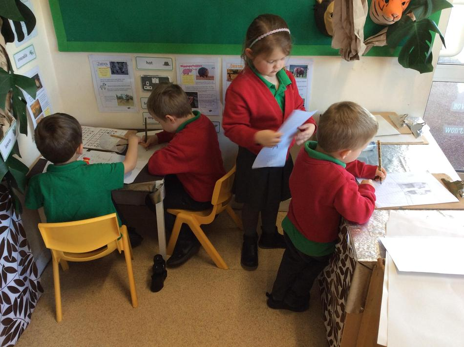 We have been safari keepers and recording what we have seen in our Jungle role play!