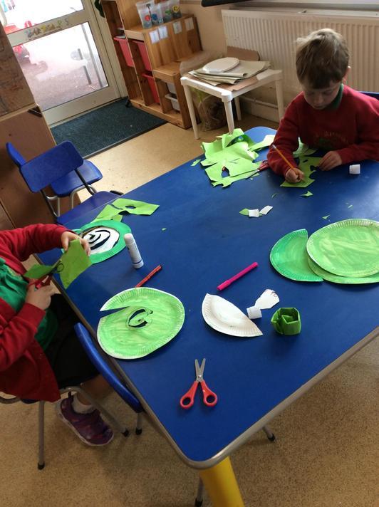 Making our own spiral beanstalks.