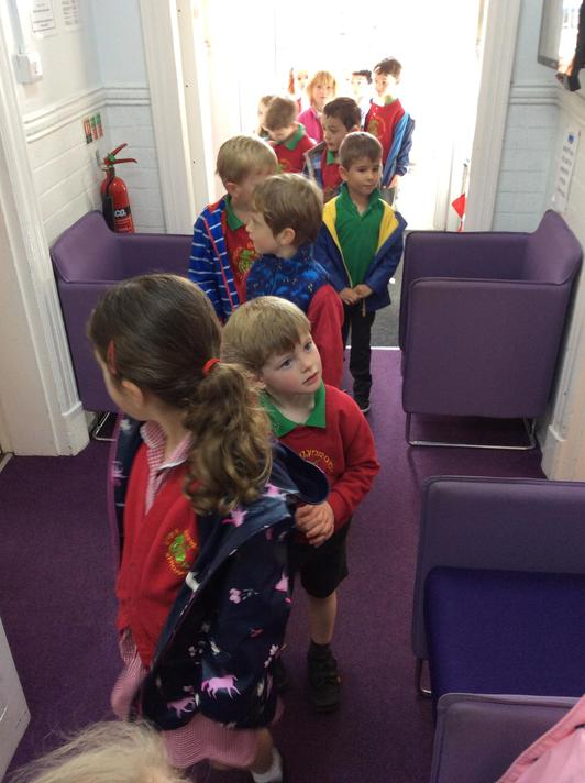 We went on a walk around our school to help us make a map for the Tiger's visit.
