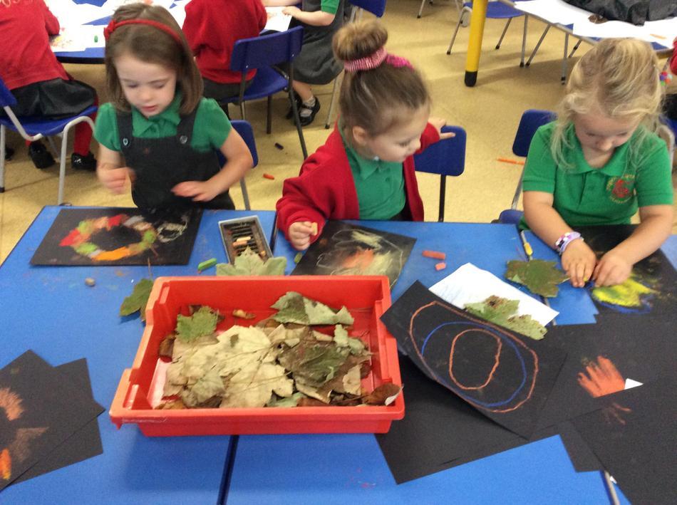 We did leaf outlines using pastels
