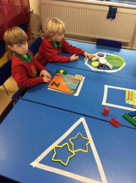 Then we sorted real life objects into shapes - some were tricky!