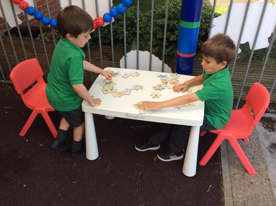 A days of the week jigsaw puzzle outdoors.
