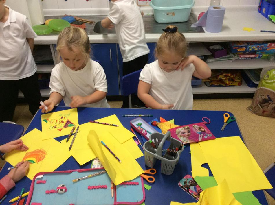 We used 2D shapes to make sparkling stars.
