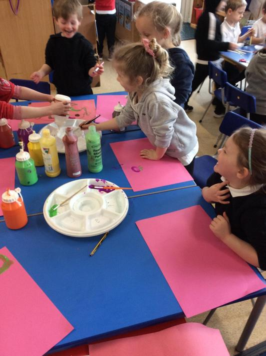 We explored colour and how to mix to create other colours.