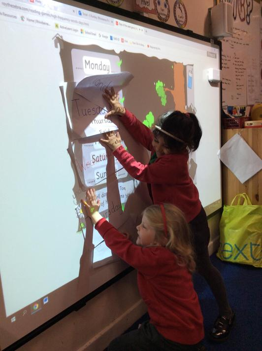 Ordering the days of the week using our IWB!