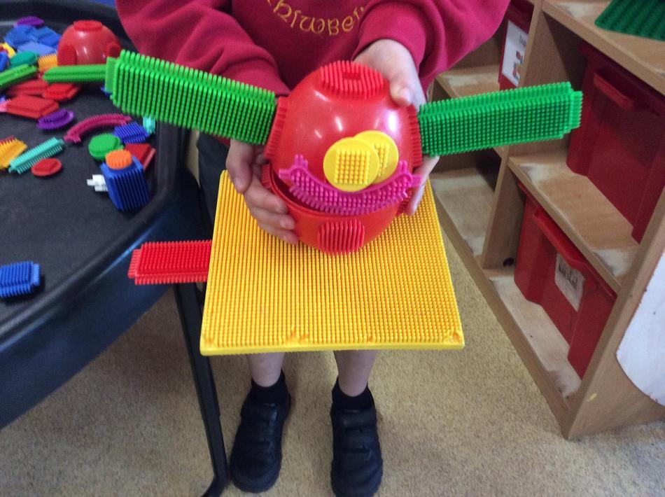 We made dragons and eggs using sticklebricks.