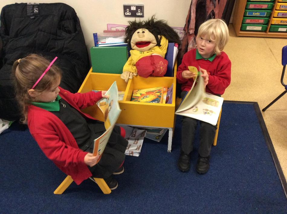 Taking some time out to read our class story books.